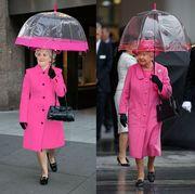Pink, Umbrella, Clothing, Outerwear, Fashion, Coat, Street fashion, Rain, Material property, Fashion accessory,