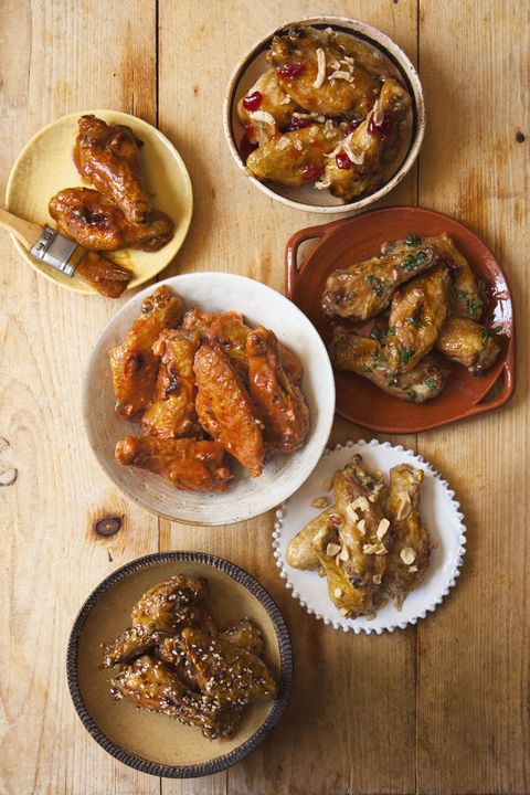 chicken wings recipes - crisipy-charred chicken wings with six sauces