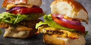 crispy mushroom and muenster cheese sliders - Labor Day Recipes