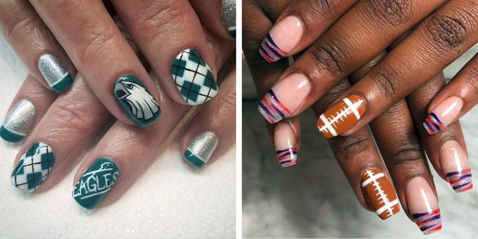 Super Bowl 2018 Nail Art Ideas - Best Football Nail Art