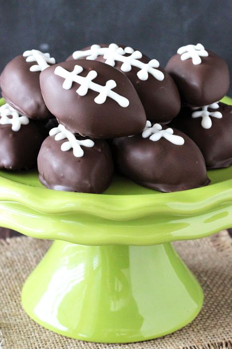 super bowl desserts - cookie dough footballs