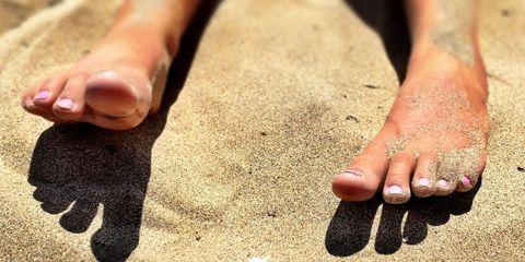 Nail, Toe, Foot, Leg, Finger, Skin, Hand, Sand, Barefoot, Human body,