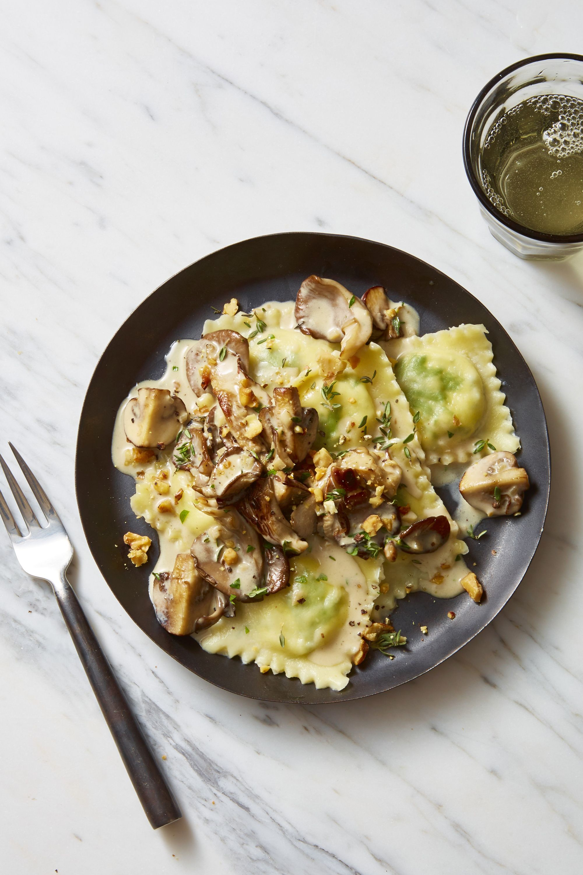 lemon-ricotta ravioli with creamy herbed mushrooms
