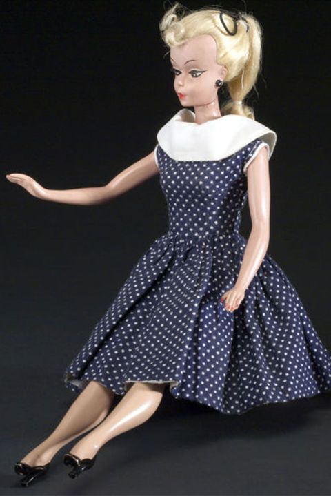 White, Clothing, Dress, Blue, Pattern, Blond, Doll, Polka dot, Toy, Fashion,