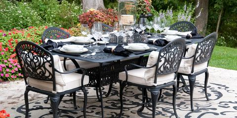 Plant, Furniture, Table, Chair, Outdoor table, Floor, Outdoor furniture, Garden, Linens, Tablecloth,