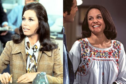 Mary Tyler Moore as Mary Richards and Valerie Harper as Rhoda Morgenstern