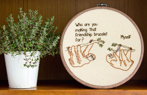 Flowerpot, Wood, Embroidery, Creative arts, Herb, Houseplant, Circle, Annual plant, Craft, Plywood,