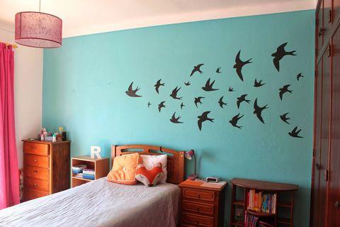 Room, Lighting, Wood, Interior design, Bed, Wall, Textile, Furniture, Bedroom, Bedding,