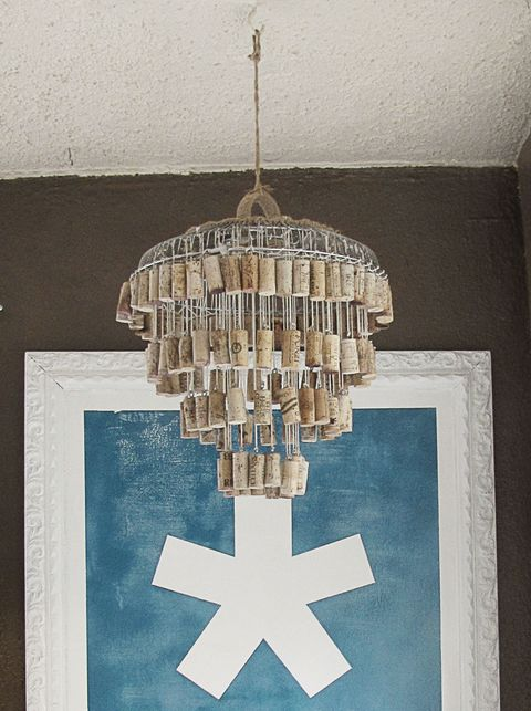 wine cork chandelier