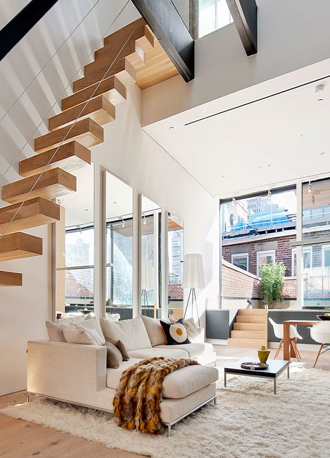 neutral apartment with funky stairs