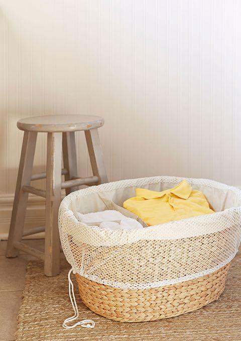 Wicker, Basket, Home accessories, Storage basket, Beige, Stool, Wood stain, End table,
