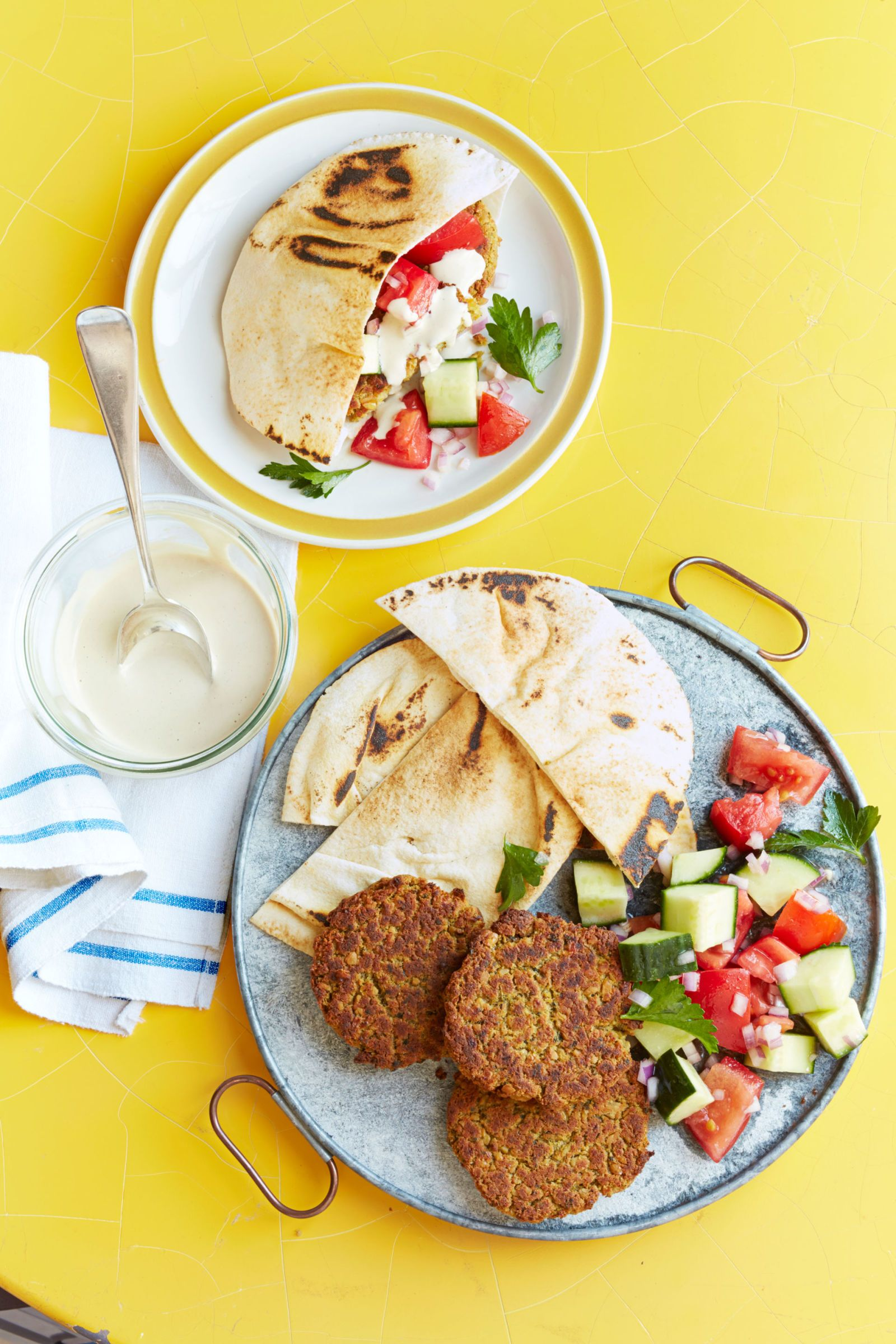 falafel with cucumber tomato salad