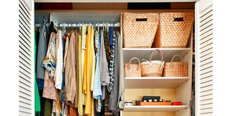 closet with baskets