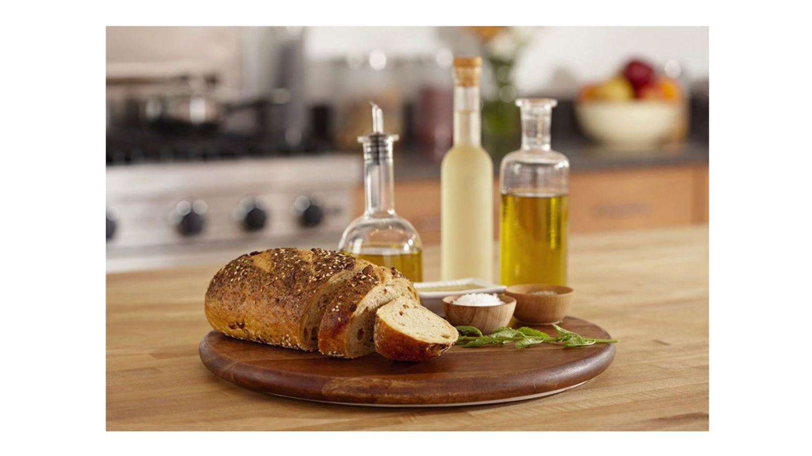 lazy susan with bread and olive oil