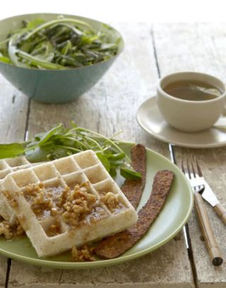 mochi waffles drizzled with lemon-walnut-rice syrup