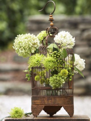 Hydrangea and hypericum berries arrangement