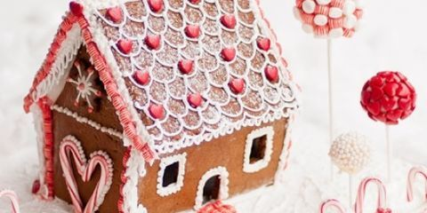 Winter, Red, House, Pink, Pattern, Home, Art, Snow, Christmas, Creative arts,