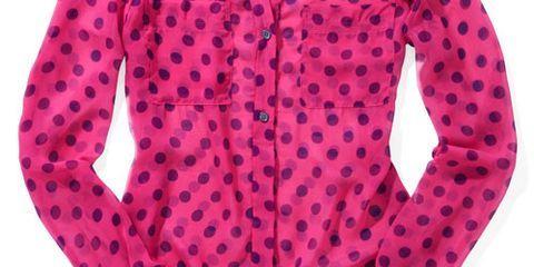 isaac mizrahi pink polka dot blouse