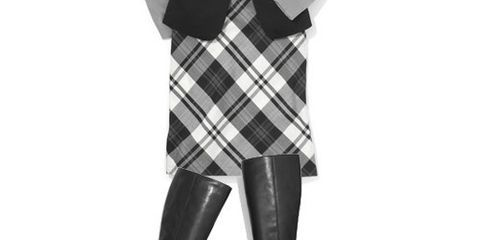 lapel collar vest and plaid pencil skirt outfit