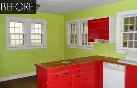 Red and Green Kitchen Makeover Kitchen Before and After