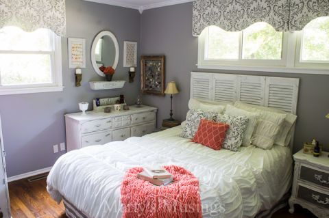 Coral and Gray Bedroom Makeover - Before and After Bedroom