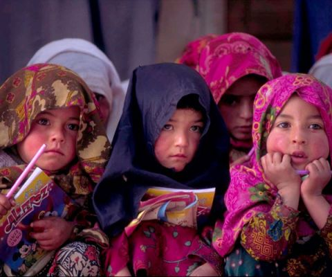girl students in central Asia