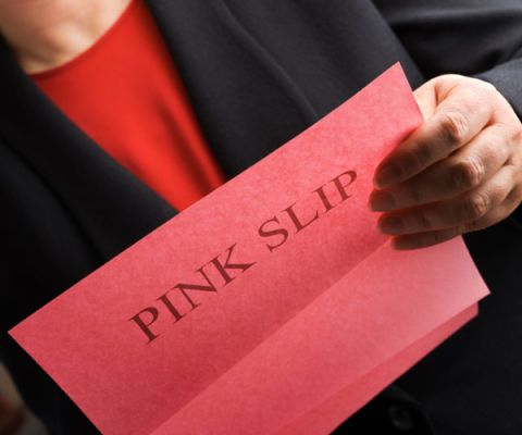 woman with pink slip