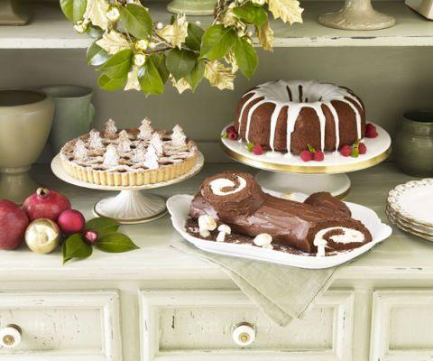 holiday dessert setting