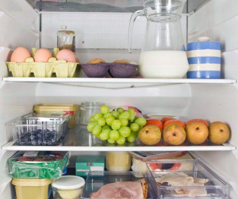 refrigerator with food inside