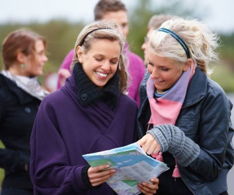 friends looking at a map