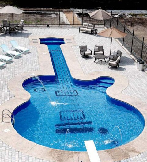 Musical instrument, String instrument, Musical instrument accessory, Outdoor furniture, String instrument, Aqua, Plucked string instruments, Azure, Guitar, Swimming pool,