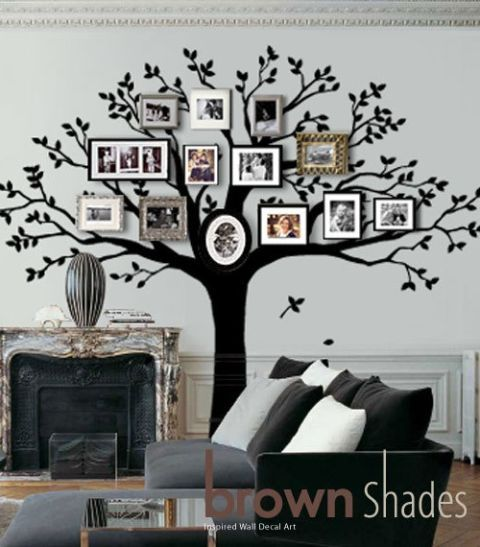 Branch, Room, Interior design, Wall, Wall sticker, Interior design, Grey, Twig, Home, Living room,