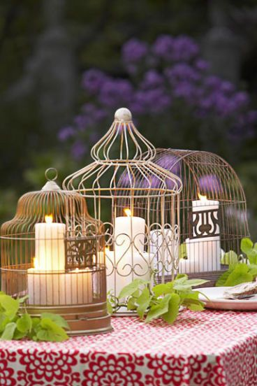 candles in birdcages centerpiece