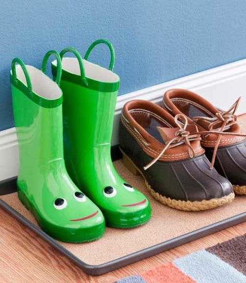 boots in a rain boot tray