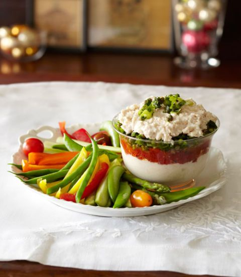 layered white bean and tomato dip