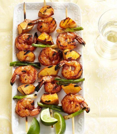 savory shrimp and peach kabobs