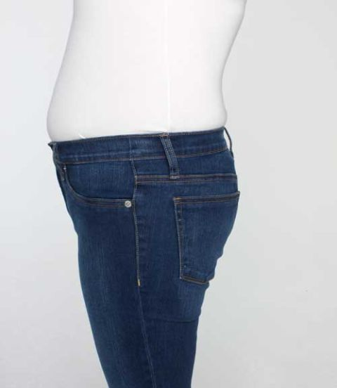 jeans to diminish a protruding stomach