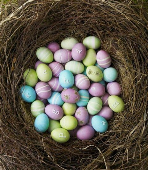 purple blue green easter eggs