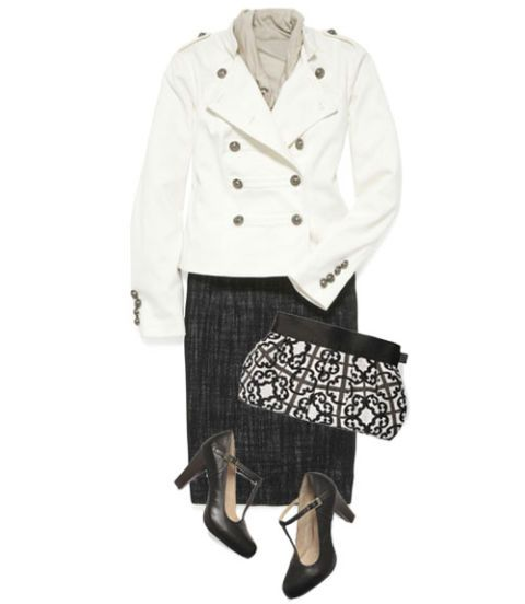 military inspired blazer and skirt