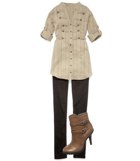 military inspired tunic and jeans