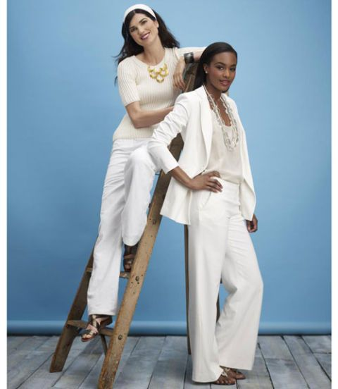 women wearing white pants