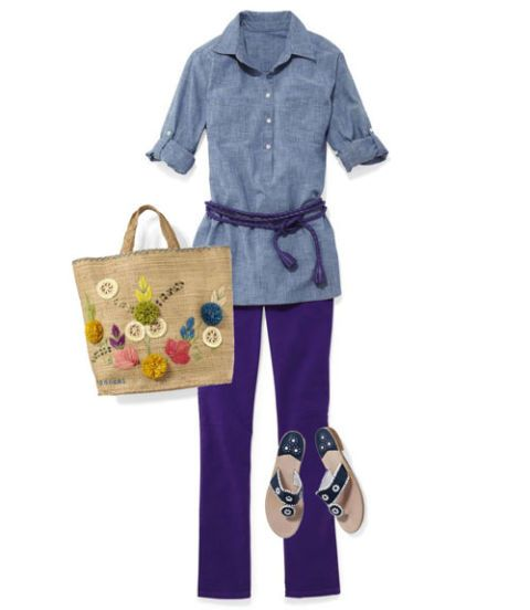chambray tunic with casual pants and sandals