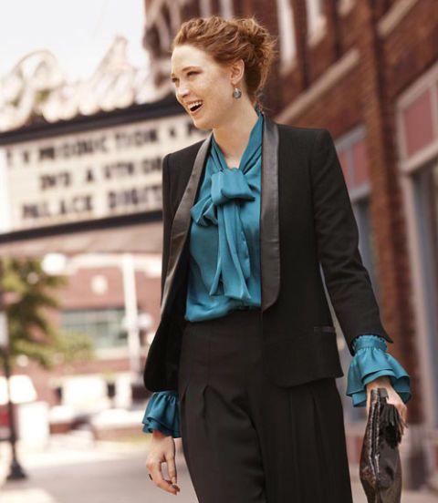 woman in tuxedo jacket