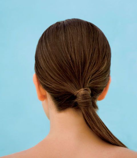 healthy hair gathered in a ponytail