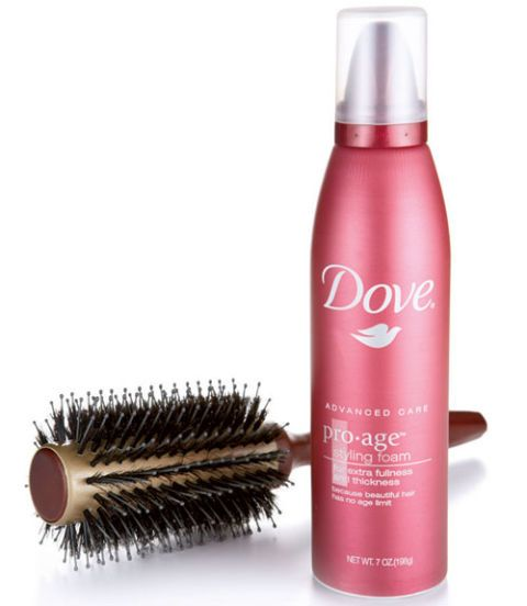 dove pro age styling foam and goody so smooth ceramic round brush