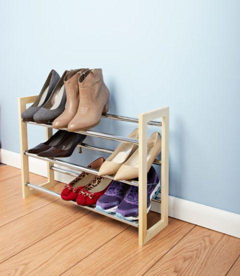 whitmor wood and chrome shoe rack