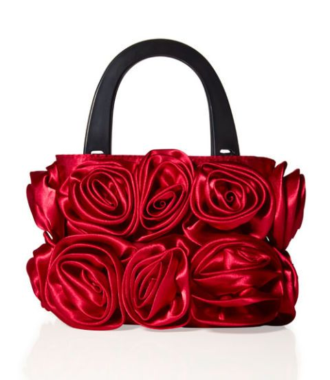 lori greiner satin roses purse