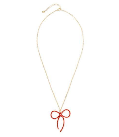 ami clubwear gemstone studded bow necklace