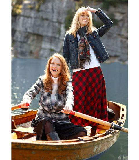 sweater coat tartan skirt