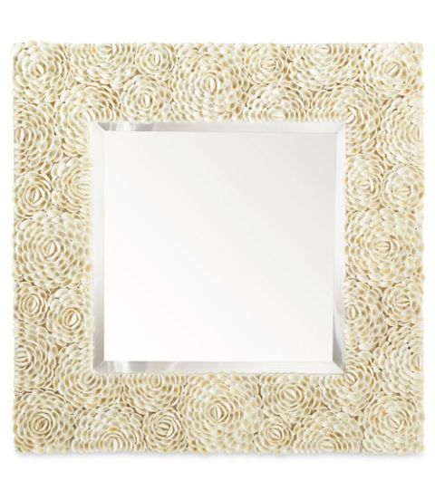 white shell flower mirror